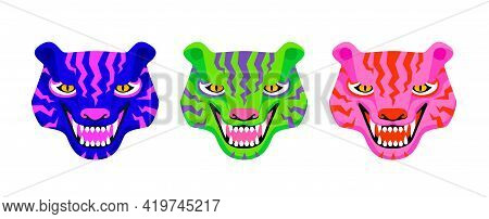Set Of Three Tiger Faces Roaring. Unreal Vibrant Psychedelic Colors. Vector Illustration Isolated On