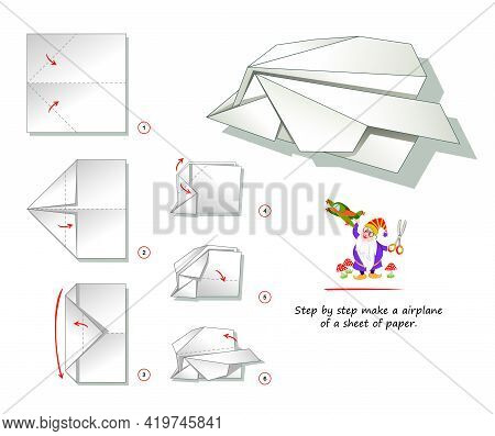 Printable Template For Kids With Instructions For Folding Paper Game Origami. How Step By Step Make