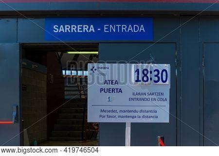 San Sebastian, Gipuzkoa. Spain. May 6, 2021: Genta Recently Vaccinated At The Vaccination Center, Ma