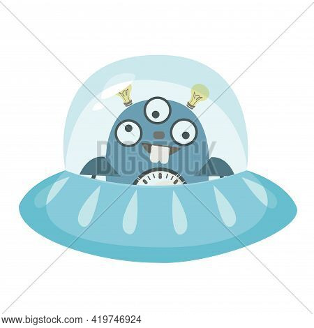 Ufo Robot Flying Saucer. Funny Alien Character Vector Illustration In Cartoon Childish Style. Isolat