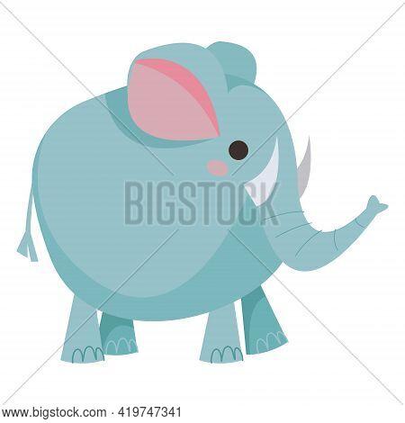 Elephant Cartoon Round Blue. Children S Cute Baby Elephant. Vector Illustration In Cartoon Childish
