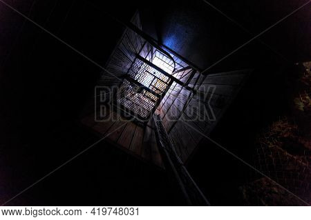 Tennant Creek, Australia - Aug 2019: Bottom View Of The Mine Elevator In Battery Hill Mining Center