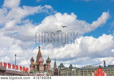 May 7, 2021, Moscow, Russia. Refueling In The Air Of A Supersonic Tu-95mc Strategic Bomber Aircraft