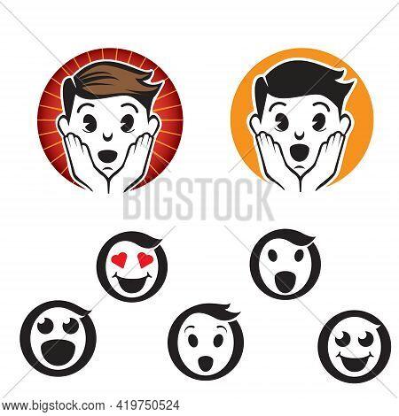 Letter O Emoji Logos Or Icons, Set Vector