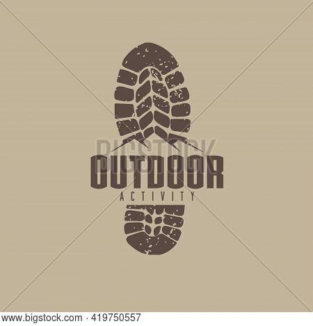 Outdoor Logo Idea With Boot Track And Mountain Graphic