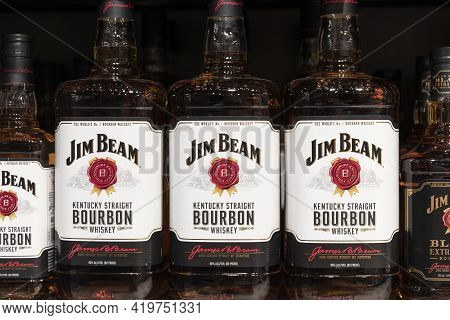 Indianapolis - Circa May 2021: Jim Beam Whiskey Display. Jim Beam Kentucky Straight Bourbon Whiskey