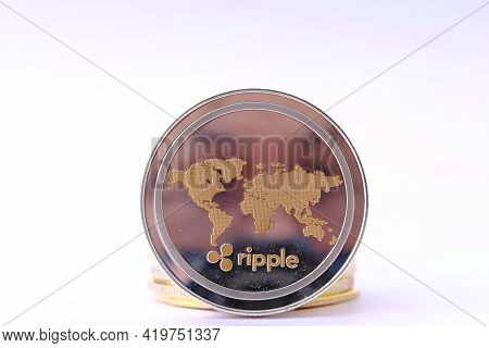 Ripple Xrp Cryptocurrency On Table And Digital Currency Money, Crypto Market, Cryptocurrency Financi