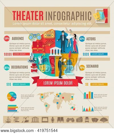 Theater Infographics Set With Drama Play Symbols And Charts Vector Illustration