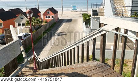 Wooden Stairs, Beach Access In Oceanside, California Usa. Coastal Stairway, Pacific Ocean, Cottages
