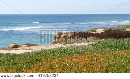 Seascape Vista Point, Viewpoint In Carlsbad, California Coast Usa. Frome Above Panoramic Ocean Tide,