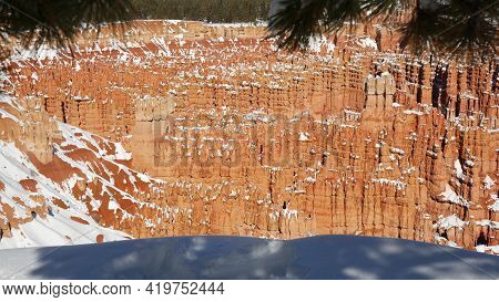 Bryce Canyon In Winter, Snow In Utah, Usa. Hoodoos In Amphitheater, Eroded Relief, Panoramic Vista P