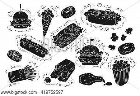 Fast Food Black Glyph Set. Donut Hot Dog, Hamburger, Potato, Nuggets Ketchup And Popcorn Collection.
