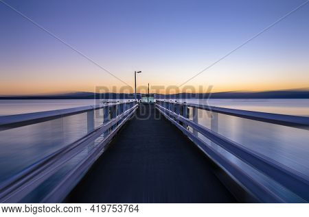Sunshine Bay With Motion Blur Which Is Located Wellington Harbour,new Zealand.