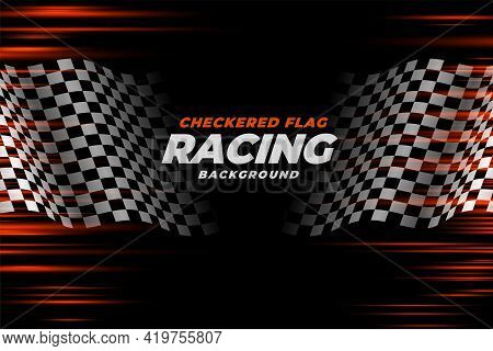 Checkered Racing Flag Speed Background Vector Template Design