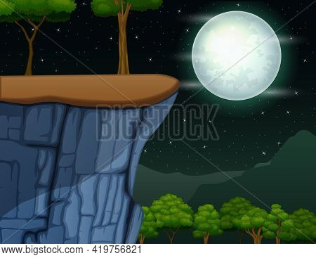 Landscape Of Cliff On The Mountain In The Full Moon Night