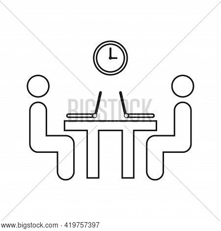 Businessmen. Dialogue Between Two Businessmen Sitting At The Same Table Under The Clock. The Art Of