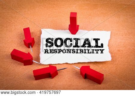 Social Responsibility. Red Needle Arrows On An Orange Background