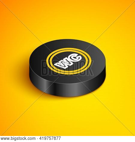 Isometric Line Toilet Icon Isolated On Yellow Background. Wc Sign. Washroom. Black Circle Button. Ve