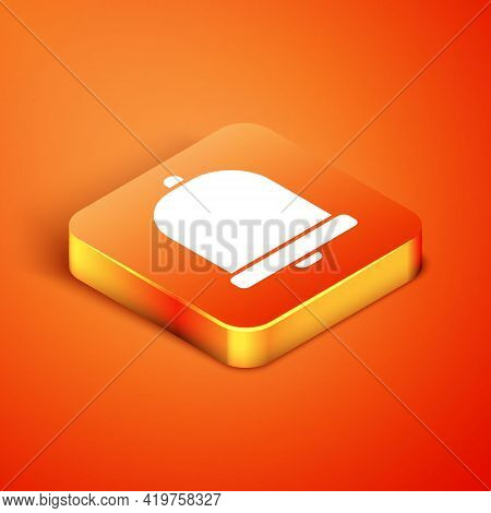 Isometric Church Bell Icon Isolated On Orange Background. Alarm Symbol, Service Bell, Handbell Sign,
