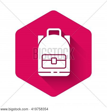 White Hiking Backpack Icon Isolated With Long Shadow. Camping And Mountain Exploring Backpack. Pink
