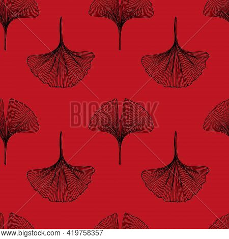 Seamless Pattern With Leaves. Ginkgo Biloba Leaves Background. Hand Drawn Vector Illustration On Red