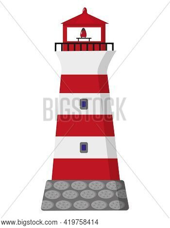 Lighthouse. Stripped Red And White Lighthouse On White Background. Isolated Vector Illustration.