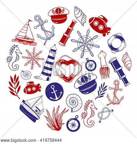 Maritime Clip Art. Set Of Nautical Icons And Design Elements, Including Pirate Flag, Ship Wheel, Sea