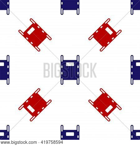 Blue And Red Stretcher Icon Isolated Seamless Pattern On White Background. Patient Hospital Medical