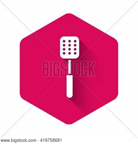 White Spatula Icon Isolated With Long Shadow. Kitchen Spatula Icon. Bbq Spatula Sign. Barbecue And G