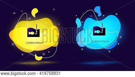 Black Fishing Hook Under Water With Fish Icon Isolated On Black Background. Fishing Tackle. Abstract