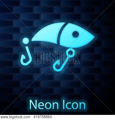 Glowing Neon Fishing Lure Icon Isolated On Brick Wall Background. Fishing Tackle. Vector