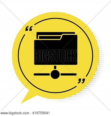 Black Ftp Folder Icon Isolated On White Background. Software Update, Transfer Protocol, Router, Team