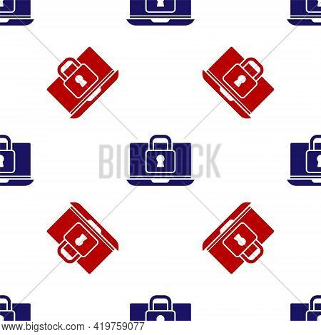 Blue And Red Laptop And Lock Icon Isolated Seamless Pattern On White Background. Computer And Padloc