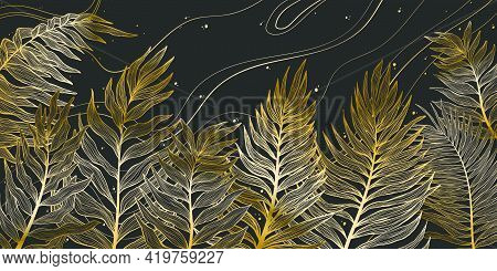 Horizontal Background With Exotics Golden Palms Leaves. Hand Drawn Luxury Golden Tropical Leaf On Da