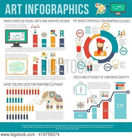 Art Infographics Set With Painter And Artist Symbols And Charts Vector Illustration