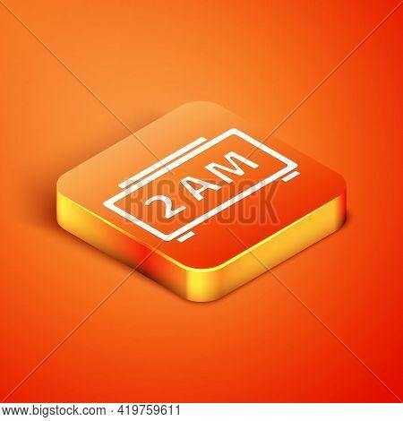 Isometric Digital Alarm Clock Icon Isolated On Orange Background. Electronic Watch Alarm Clock. Time