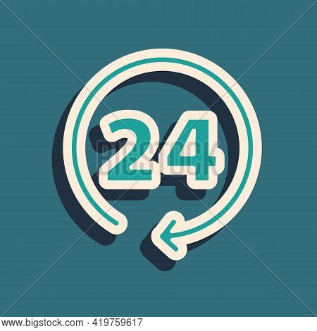 Green Clock 24 Hours Icon Isolated On Green Background. All Day Cyclic Icon. 24 Hours Service Symbol