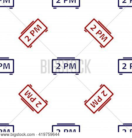 Blue And Red Digital Alarm Clock Icon Isolated Seamless Pattern On White Background. Electronic Watc