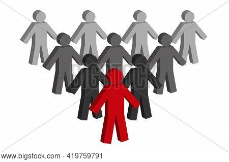 Individuality Concept. One Individual Red Man With Different Black. 3d Vector Illustration