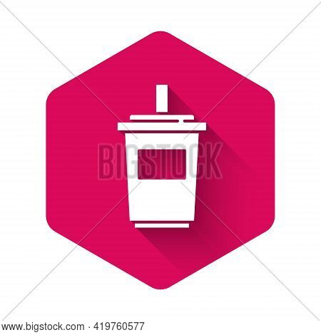 White Paper Glass With Drinking Straw And Water Icon Isolated With Long Shadow. Soda Drink Glass. Fr