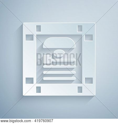 Paper Cut 26 November India Constitution Day Icon Isolated On Grey Background. Paper Art Style. Vect