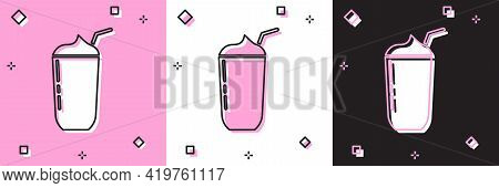 Set Milkshake Icon Isolated On Pink And White, Black Background. Plastic Cup With Lid And Straw. Vec