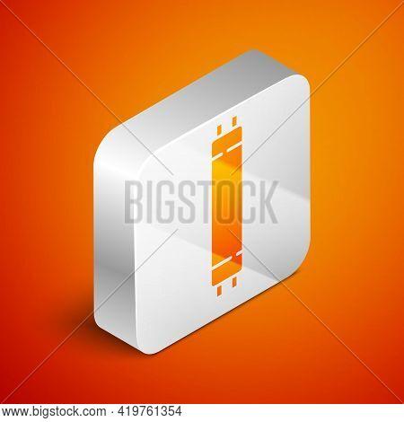 Isometric Long Luminescence Fluorescent Energy Saving Lamp Icon Isolated On Orange Background. Silve