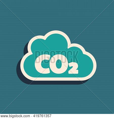 Green Co2 Emissions In Cloud Icon Isolated On Green Background. Carbon Dioxide Formula, Smog Polluti