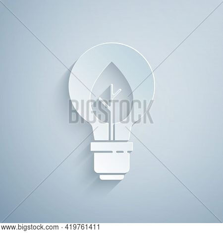 Paper Cut Light Bulb With Leaf Icon Isolated On Grey Background. Eco Energy Concept. Alternative Ene