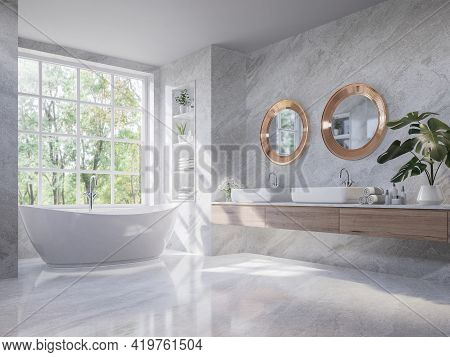 Luxury Style Light Gray Bathroom 3d Render,there Are Marble Floor And Wall ,wooden Sink Counter And