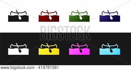 Set Kayak And Paddle Icon Isolated On Black And White Background. Kayak And Canoe For Fishing And To