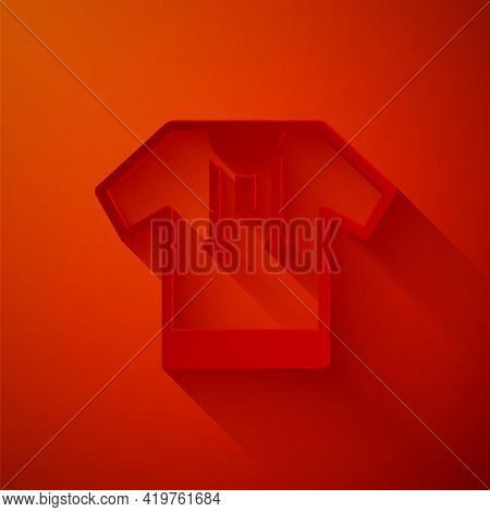 Paper Cut Embroidered Shirt Icon Isolated On Red Background. National Ukrainian Clothing. Paper Art