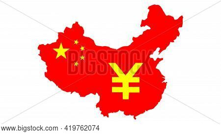 May 7, 2021. Bangkok Thailand. Symbol Yellow Yuan Cryptocurrency On The Red China Map. Technology Fo