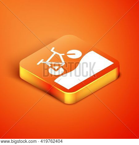 Isometric Mountain Bicycle Icon Isolated On Orange Background. Bike Race. Extreme Sport. Sport Equip